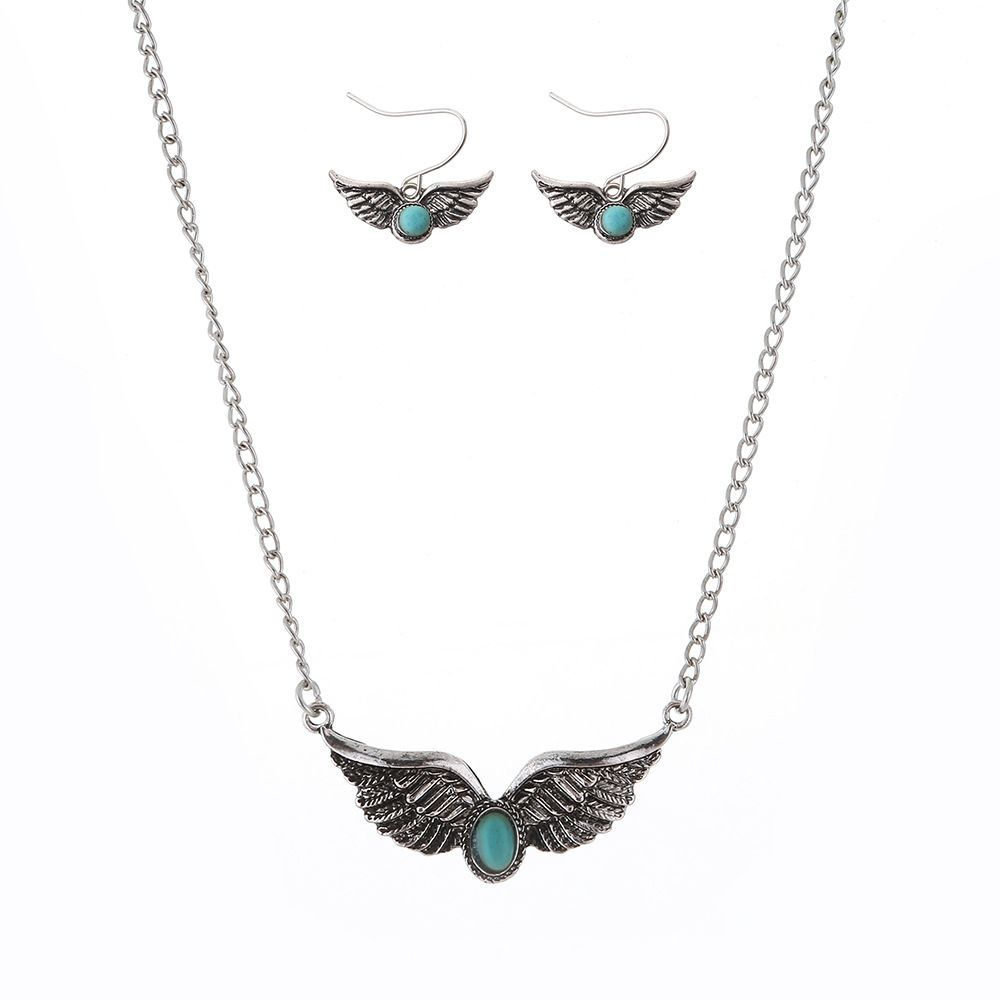 New Turquoise National Wind Wings Necklace fashion Necklaces Earrings Jewelry Set