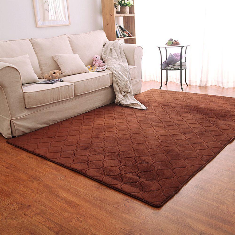 Floor Mat Thicken Coral Fleece Comfy Soft Geometric Pattern Home Mat3