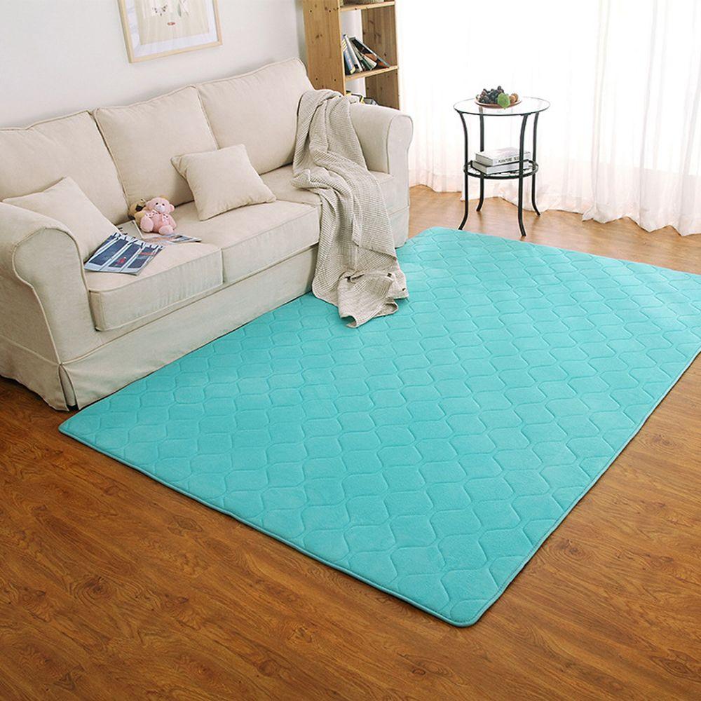 Floor Mat Thicken Coral Fleece Comfy Soft Geometric Pattern Home Mat4