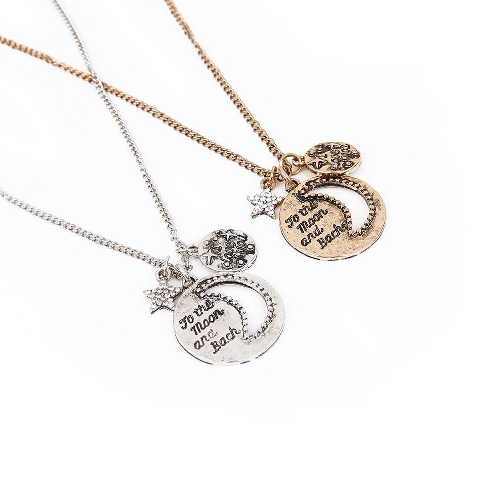New Necklace Hollow Moon Flash Diamond Necklace Set Lettering Sweater Chain Fashion Retro Necklace Earrings Jewelry Set