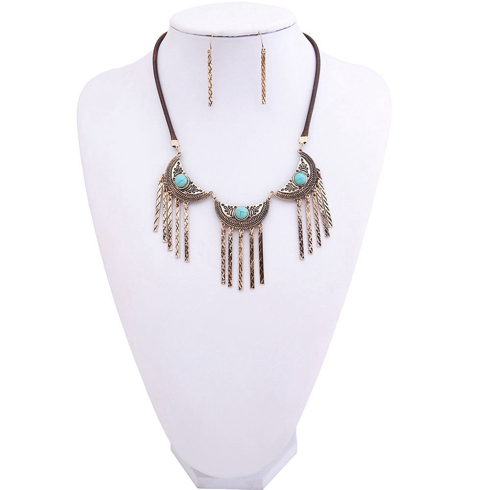 New Vintage Leather Necklace Set Turquoise Earrings Necklace Jewelry Set