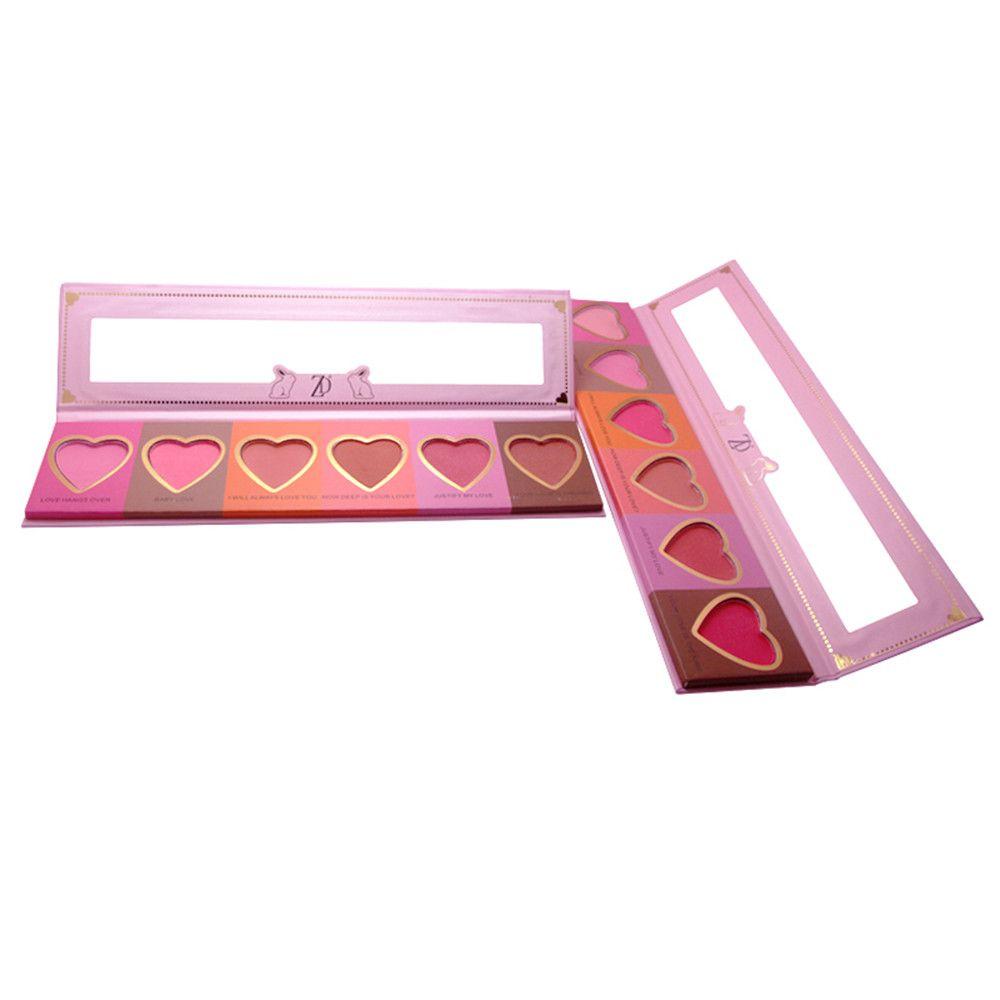 ZD F2098  6 Colors Blusher Palette Heart Shaped Cheek Makeup Blush Powder 1PC