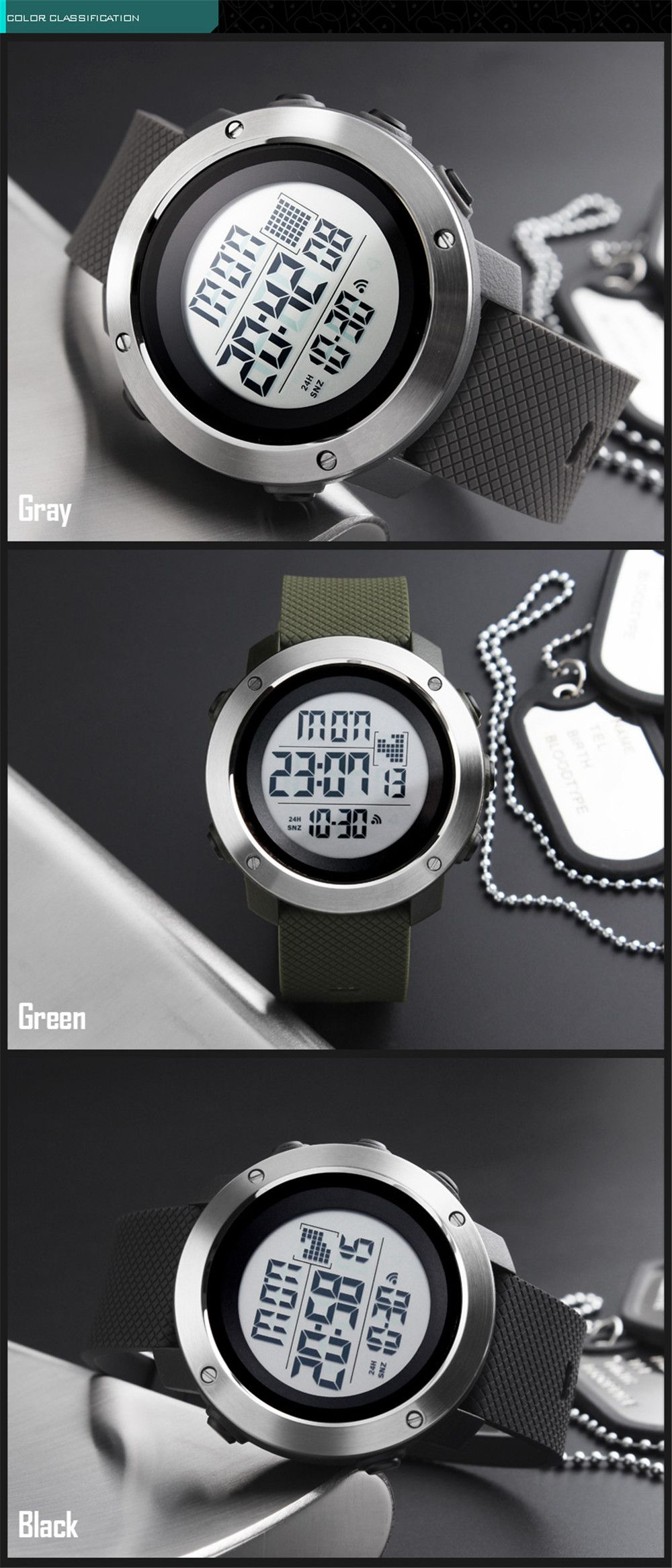 Personalized Cool Men Electronic Outdoor Sports Couple Stylish Multi-Functional Waterproof Student Electronic