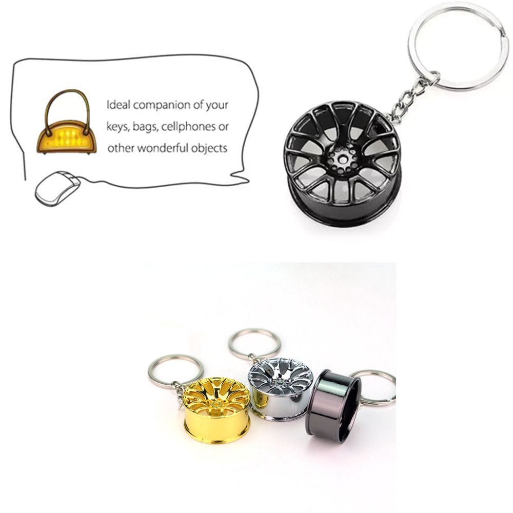 Wheel Hub Alloy Key Chain Wallet Decor Keyring Pendant Decoration