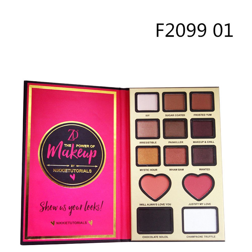 ZD F2099 9 Colors Eyeshadow 2 Colors Blusher 2 Colors Bronzer Powder 1PC