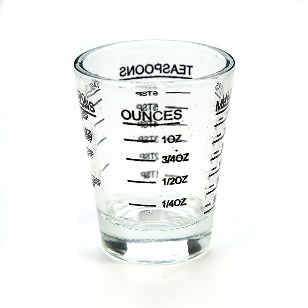 Small Measure Multi-Purpose Liquid and Dry Measuring Shot Glass Heavy Glass Wine Measuring Cups