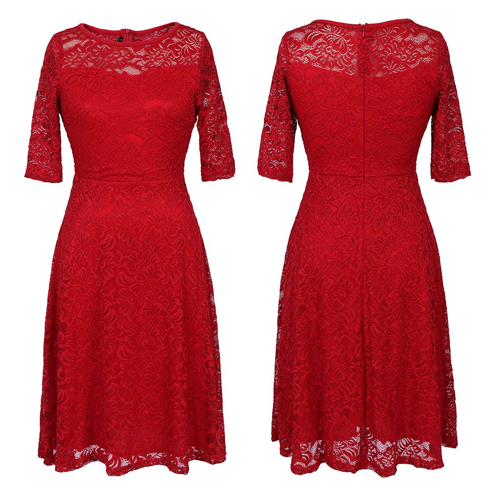 New Style Woman Elegant Summer Fashion Short Sleeve Sexy Lace O Neck Party Dress