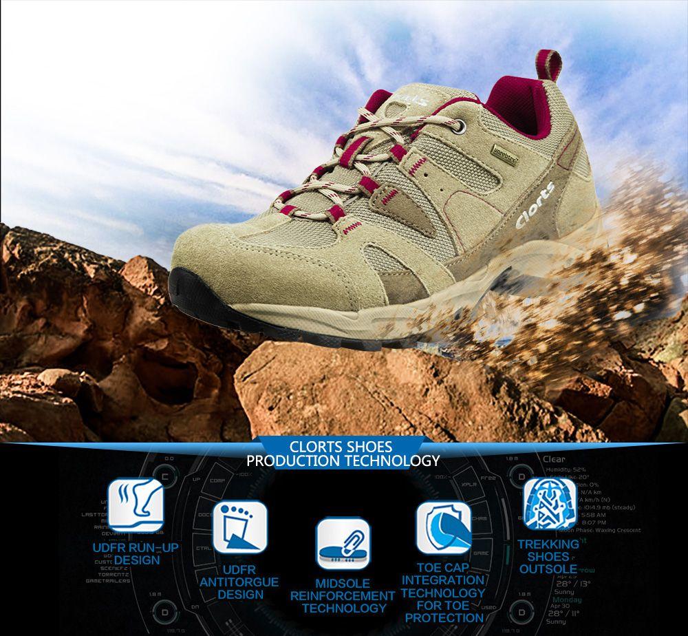 Clorts Women Hiking Shoes Waterproof EVA Trekking Climbing Shoes Cow Suede Outdoor Sports Sneakers