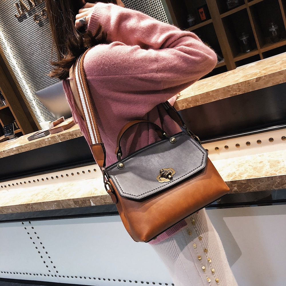 Fashion Trendy Handbag Female Trendy Wild Messenger Bag Spell Color Package 2018 New Female Bag