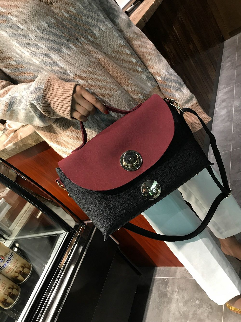 2018 New Handbag Fashion Handbag Lock All-Match Color Diagonal Shoulder Bag