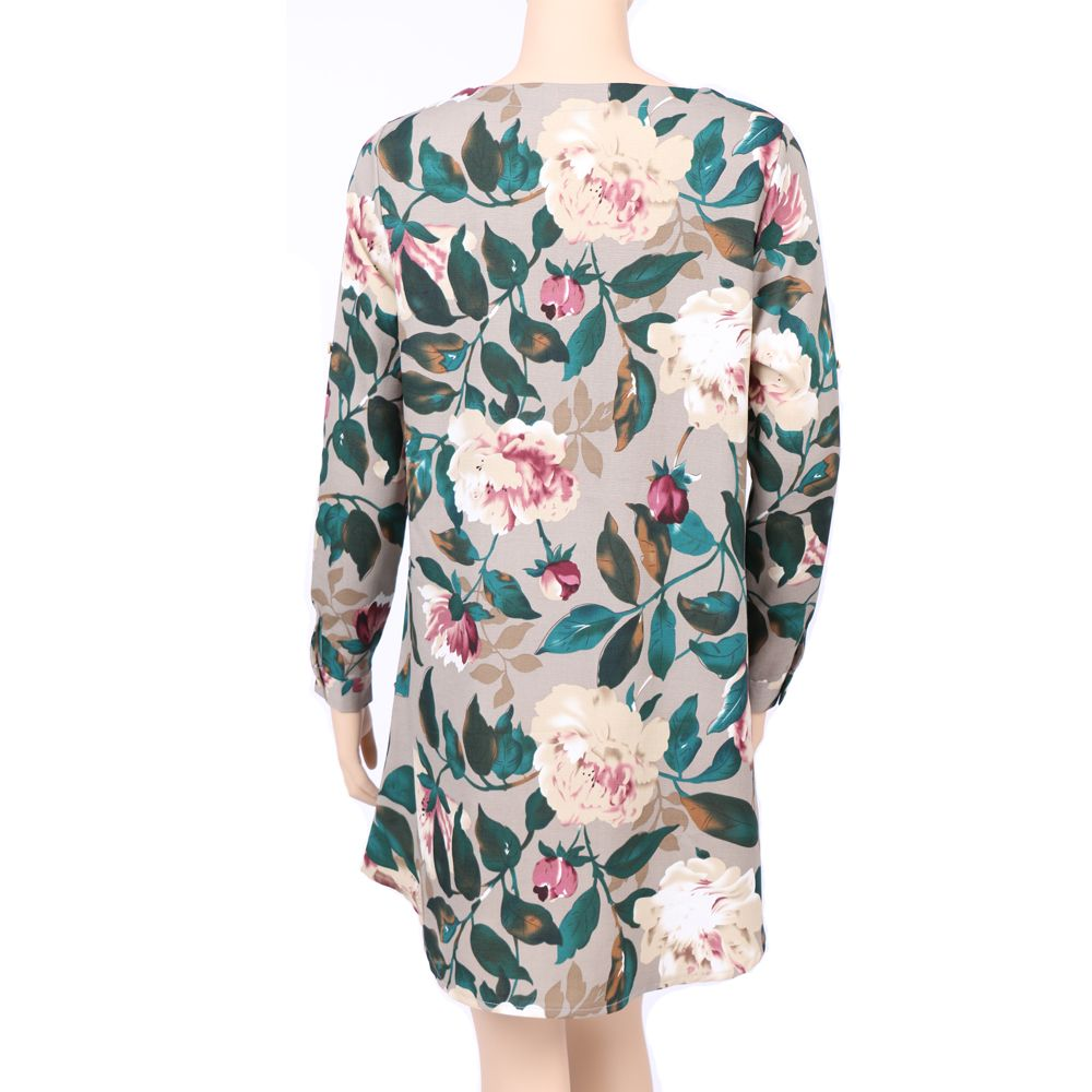 2017 Autumn Spring New Style Flower Printed Long Sleeve Roung  Collar Blouse Women  Long T-Shirts