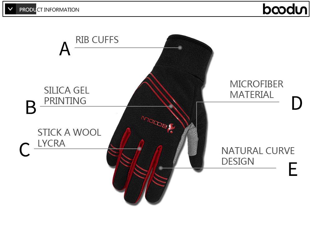 BOODUN Touch Screen Gloves Men Winter Cycling Gloves GEL Bike For Man Woman