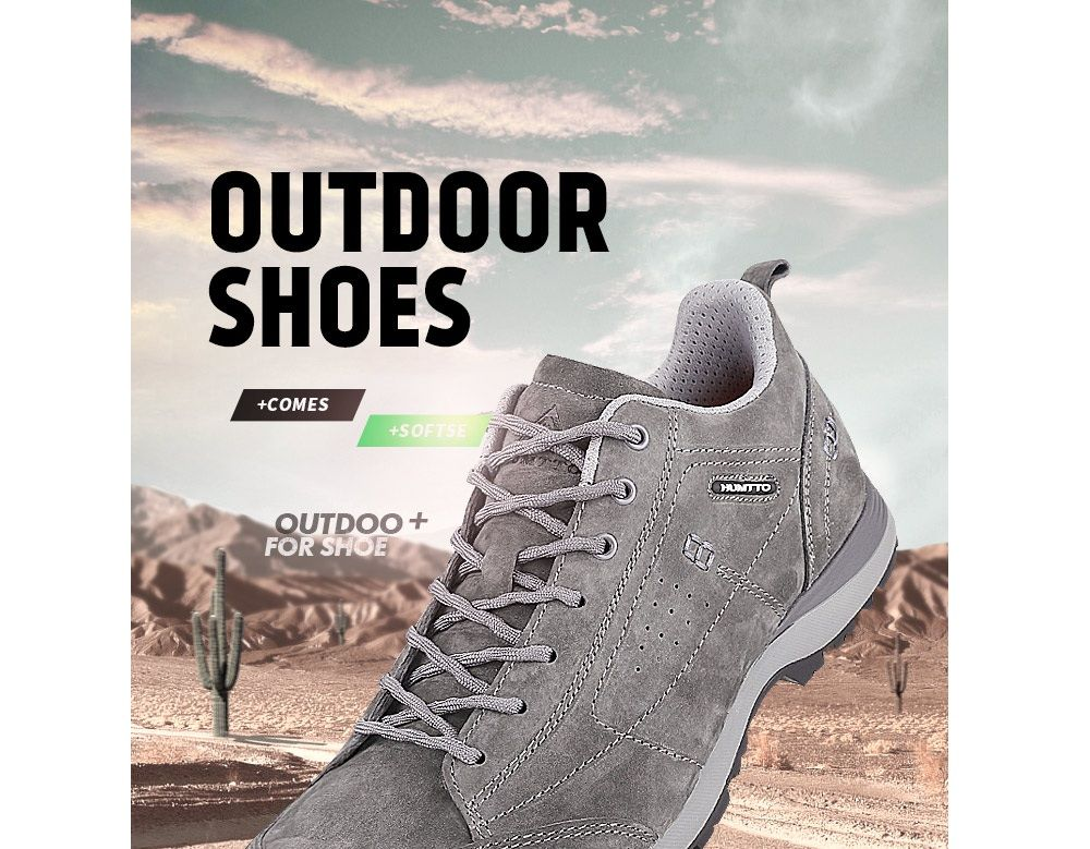 HUMTTO Men Trekking Shoes Breathable Sneakers Leather Walking Shoes