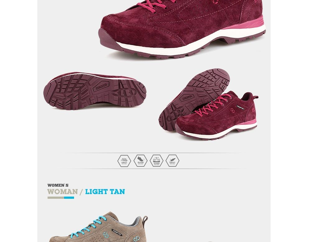 HUMTTO Women Trekking Shoes Breathable Sneakers Leather Walking Shoes