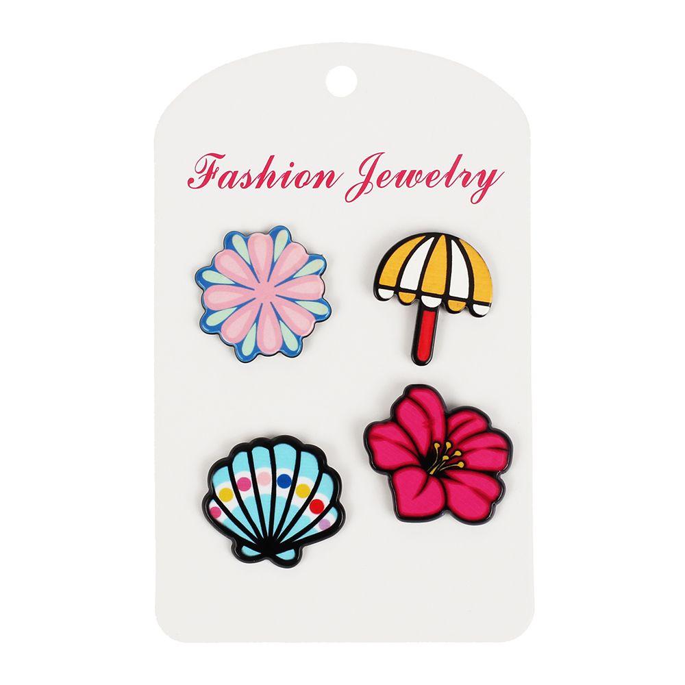 Gorgeous Flowers Brooch Set Shell Umbrella Accessories