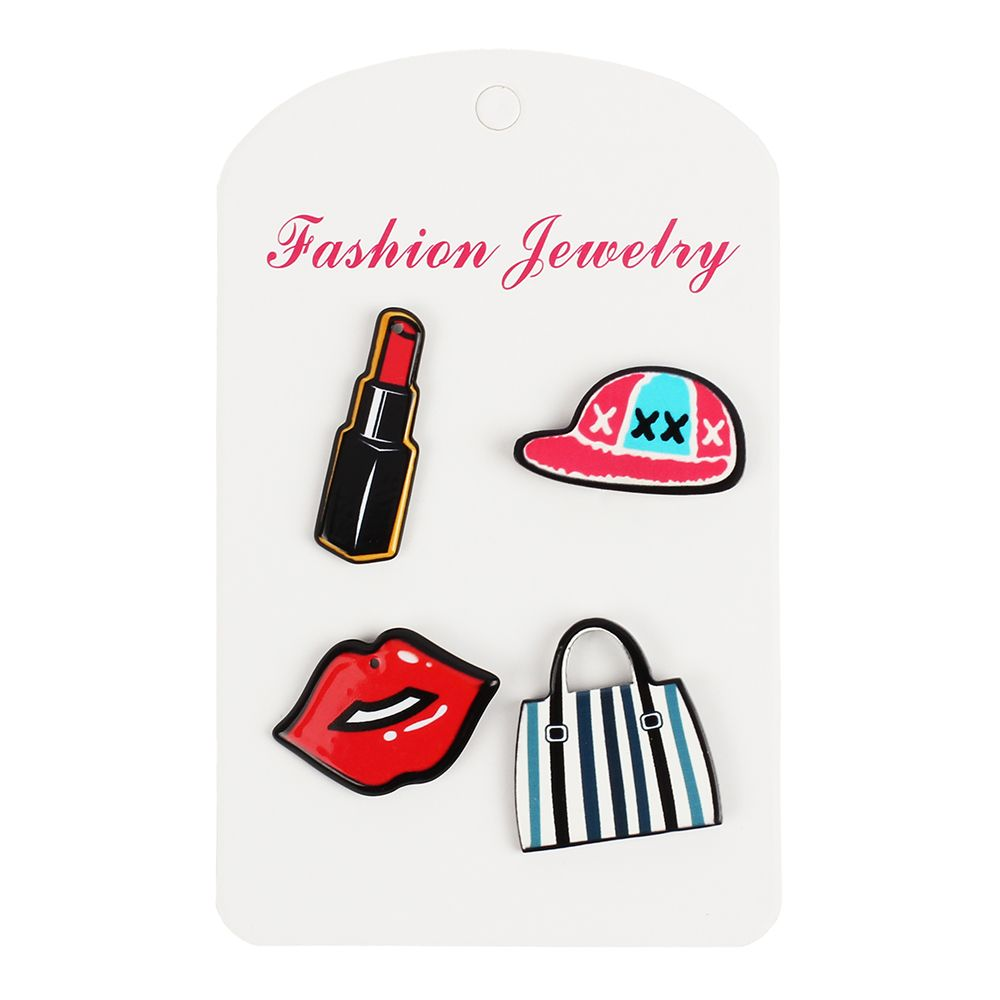 Girl Decorations Brooch Set Lipstick Lip Hat Bag Jewelry