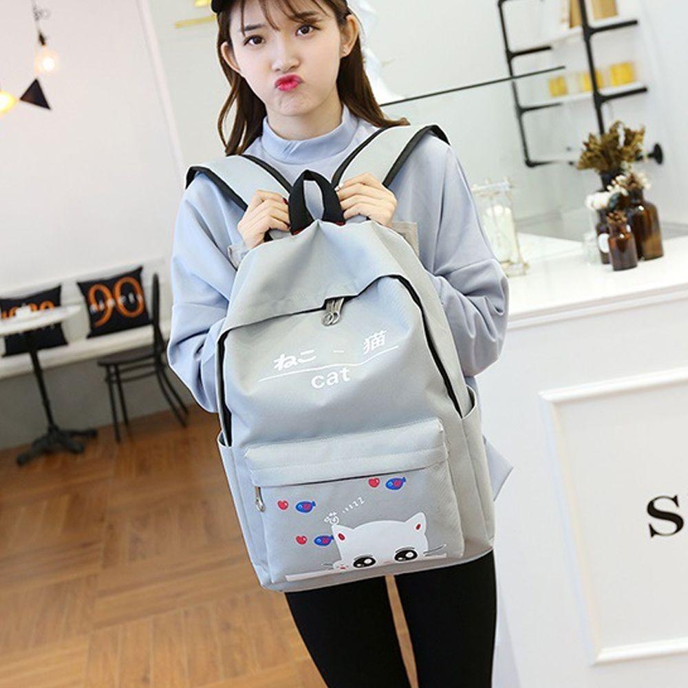 Girl's Backpack Set Cartoon Cat Pattern School Backpack