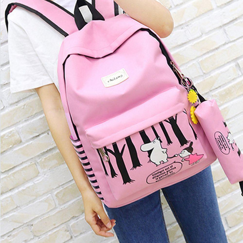Girl's Bags Set Cartoon Pattern Simple School Backpack Set