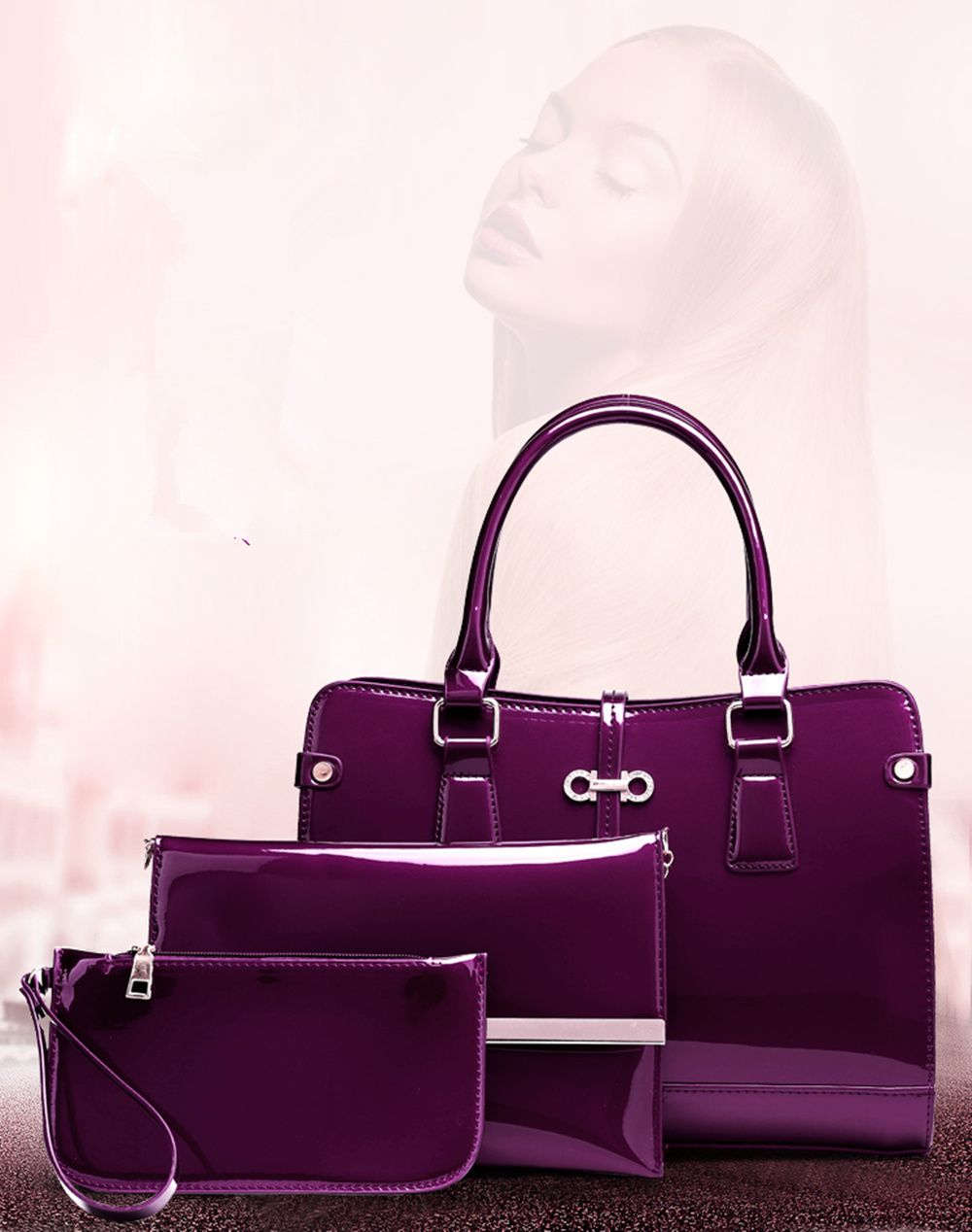 Three Pieces of New Mother Bag Patent Leather Bright Handbag Lady Diagonal Package