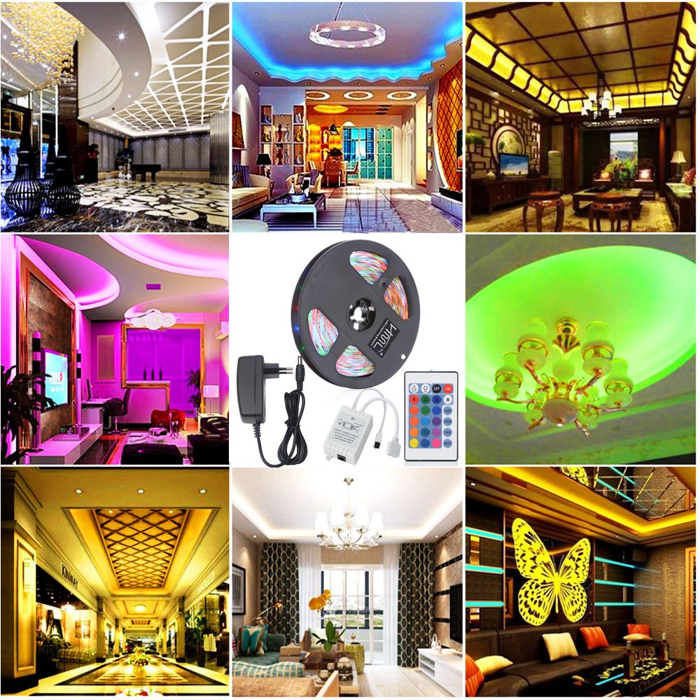HML 5M Water-proof 24W RGB 2835 SMD 300 LEDs Strip Light with 24 Keys Remote Control and EU Adapter