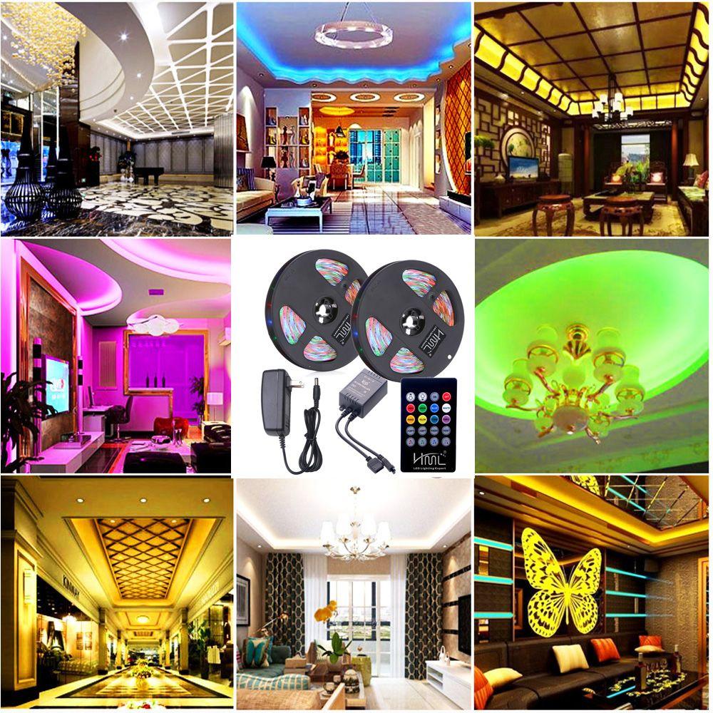 HML 2pcs 5M waterproof 24W RGB 2835 300 LED Strip Light - RGB with IR 20 Keys Music Remote Control and US Adapter