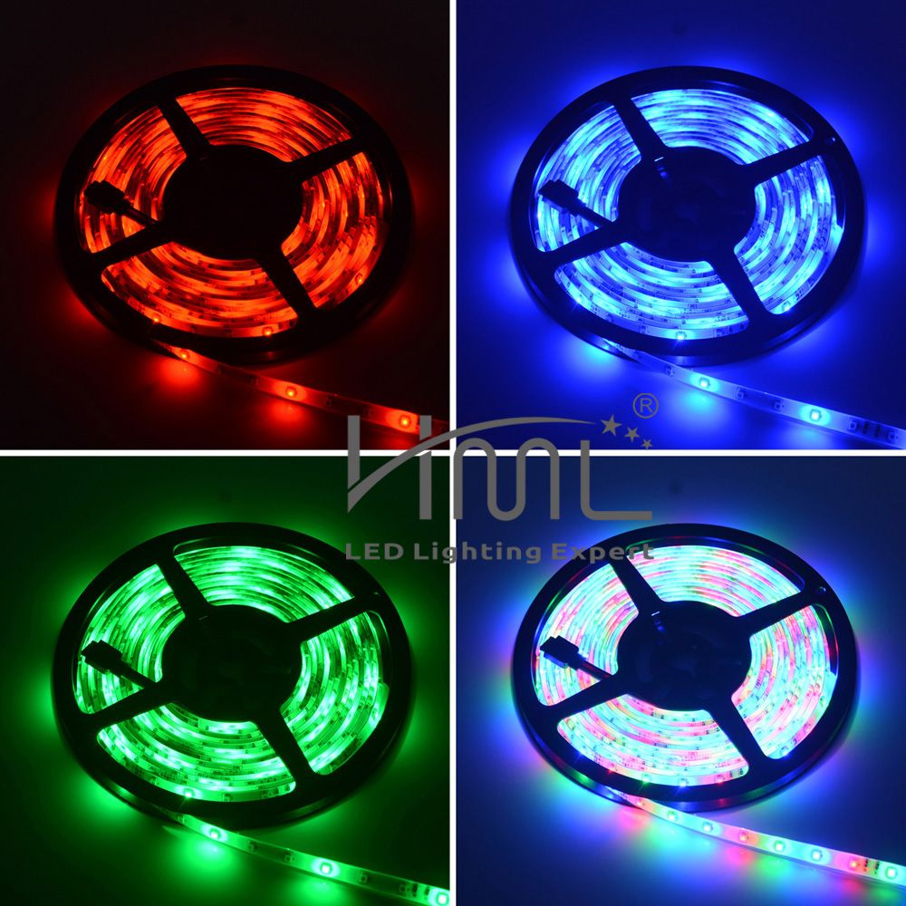 HML 2pcs 5M Waterproof 24W RGB SMD2835 300 LED Strip Light - RGB COLOR with IR 20 Keys Music Remote Control and EU Adapt
