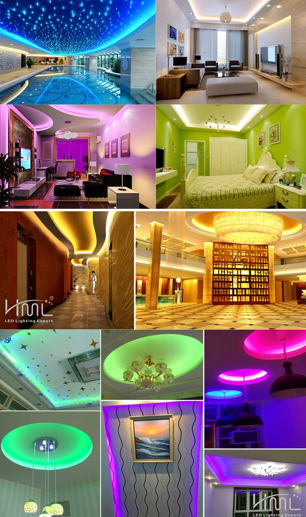 HML LED Strip Light 5M 24W RGB SMD2835 300 LEDs - RGB COLOR with IR 44 Keys Remote Control and US  Adapter