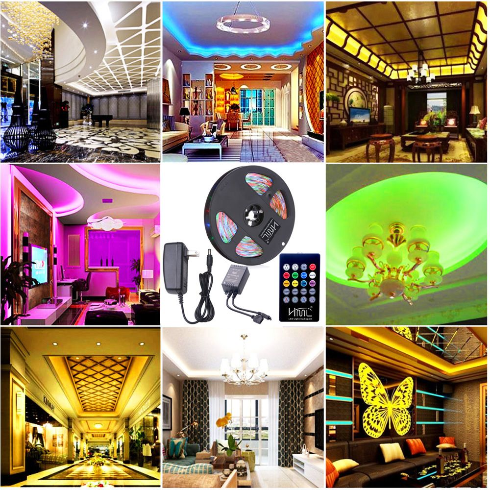 HML Waterproof LED Strip Light 5M 24W RGB SMD2835 300 LEDs -with IR 20 Keys Music Remote Control and US Adapt