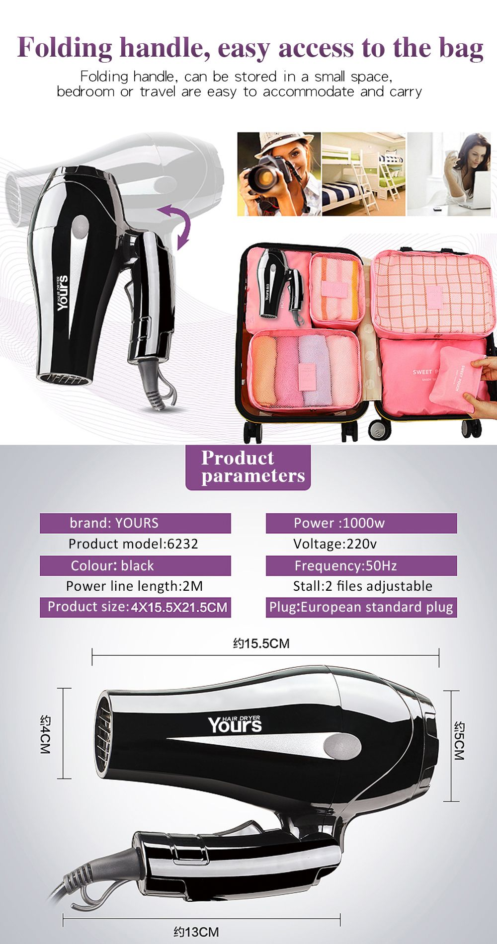 Yours Hair Drier Portable Ion Black YR-6232