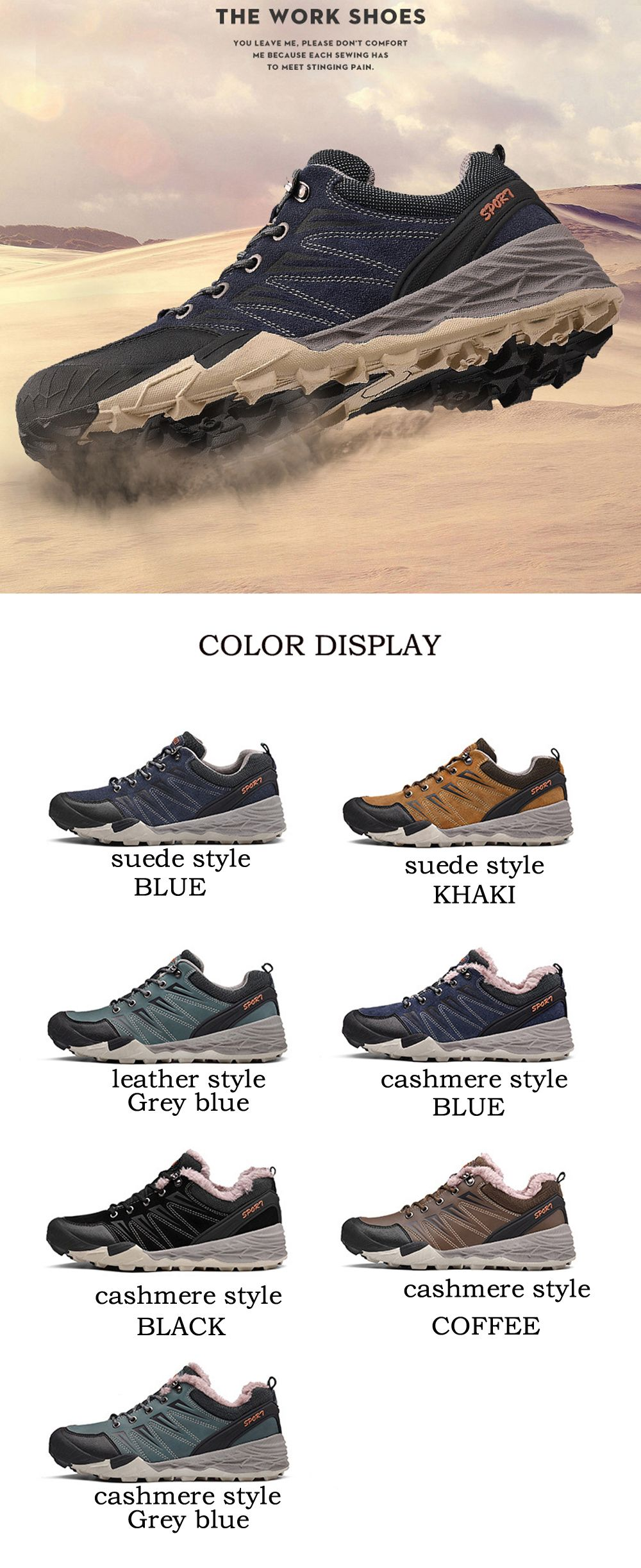 2017 Winter New Large Size Outdoor Shoes Men'Non-Slip Hiking Shoes