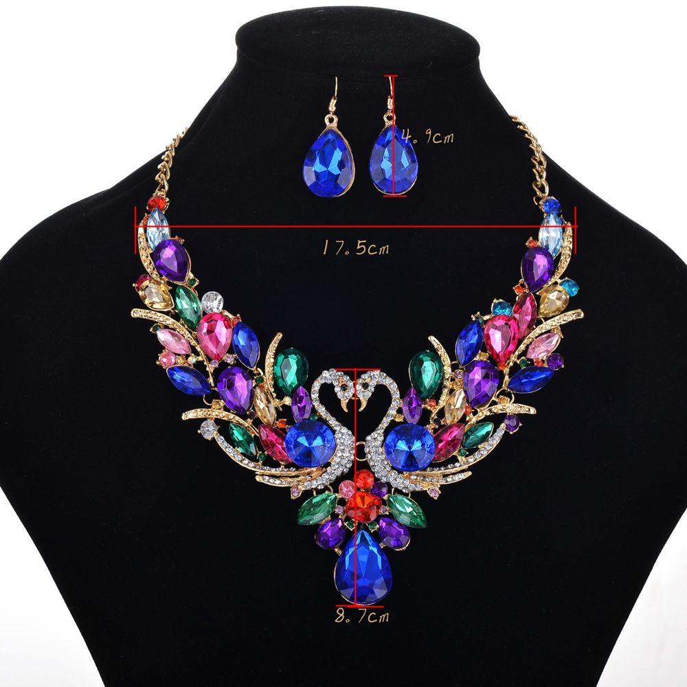 Women Luxury Jewelry Choker Diamond Swans Pendants Necklace Earrings Set
