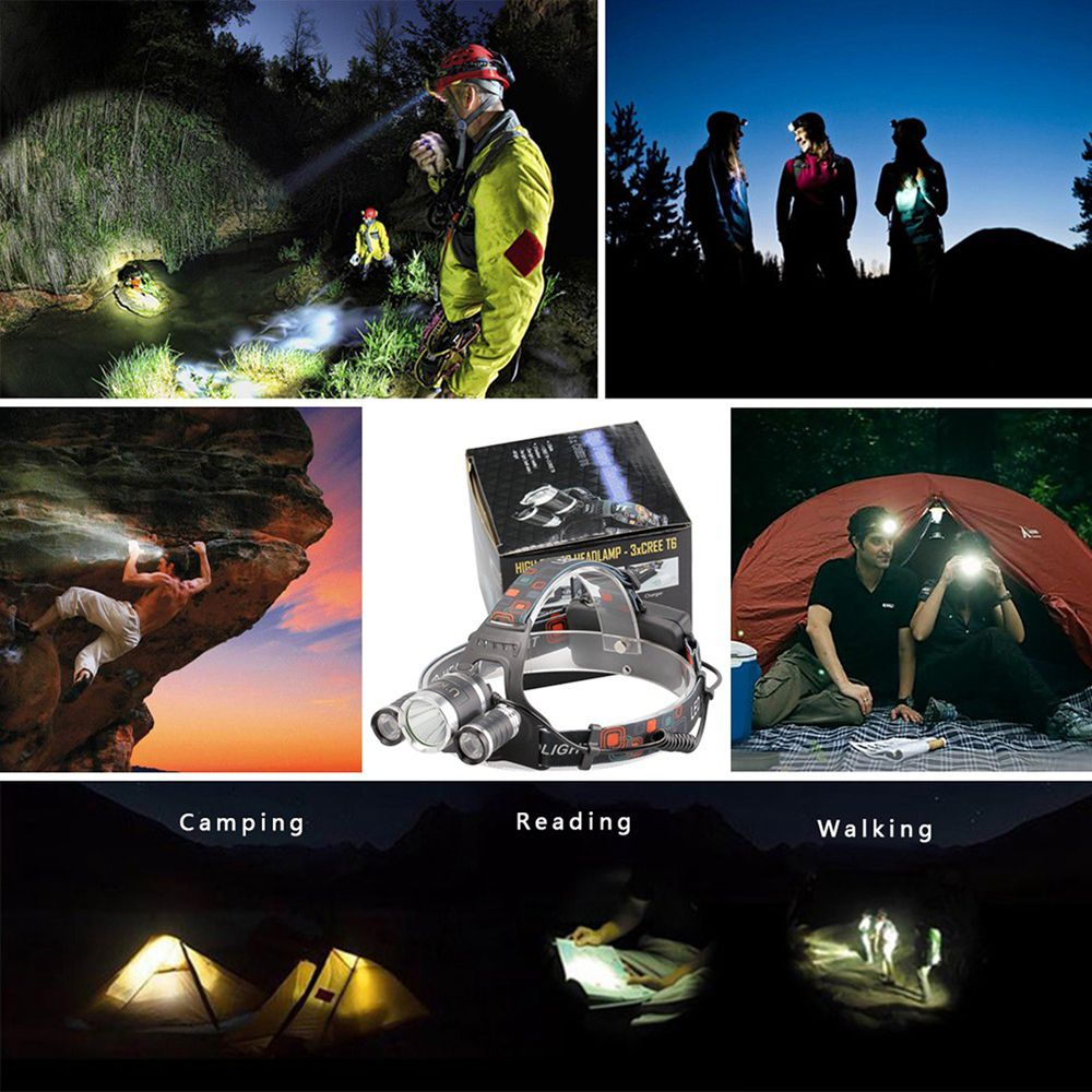 U'King ZQ-X807 1600LM 3 LEDs 4 Mode Portable Headlamp with Chargers and Batteries