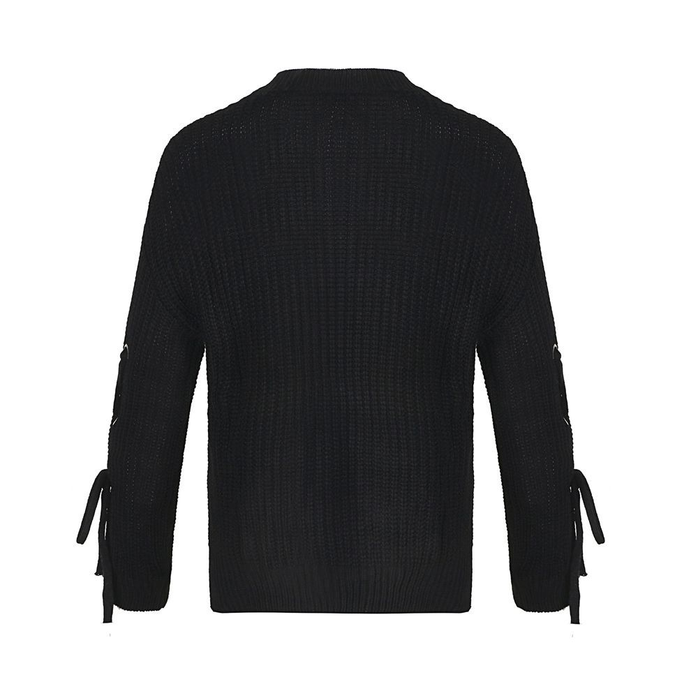 Autumn and Winter Round Neck Long Sleeve Cufflinks Loose Wild Sweater