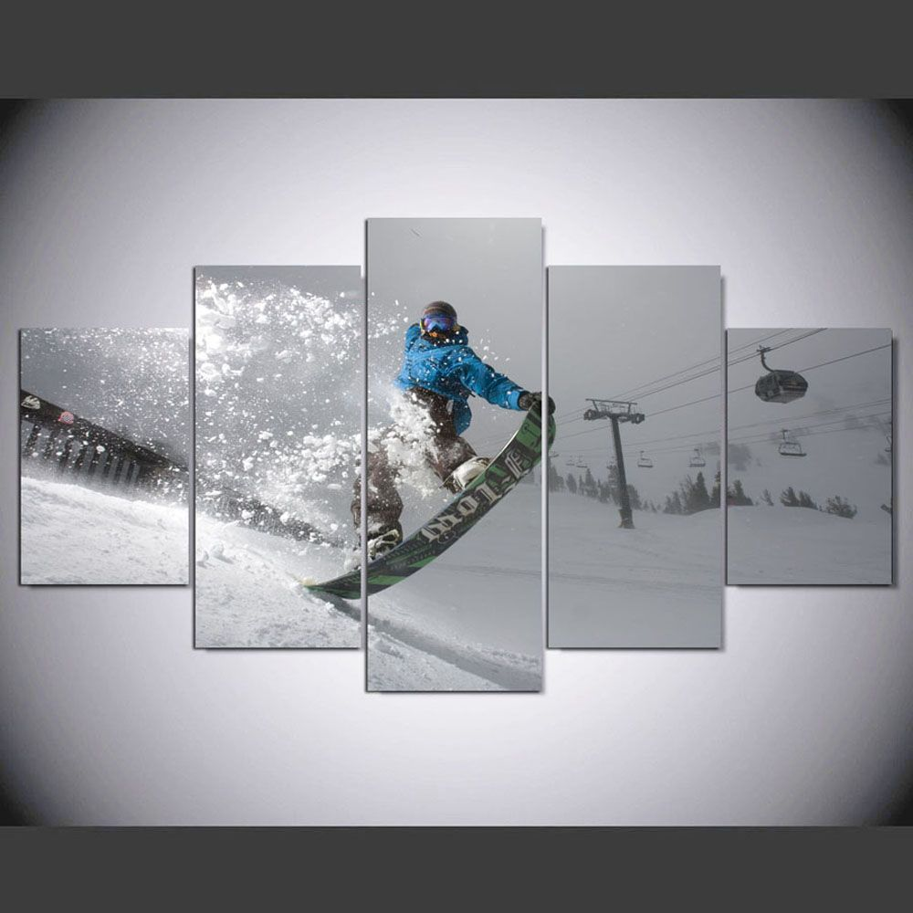 YSDAFEN 5 Panel HD Printed Snowy Ski Sled on Canvas Room Decoration