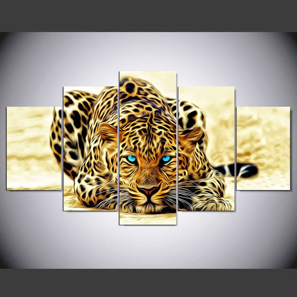 YSDAFEN 5 Panel Modern Hd Tiger with Blue Eyes Paintings for Living Room Wall Picture