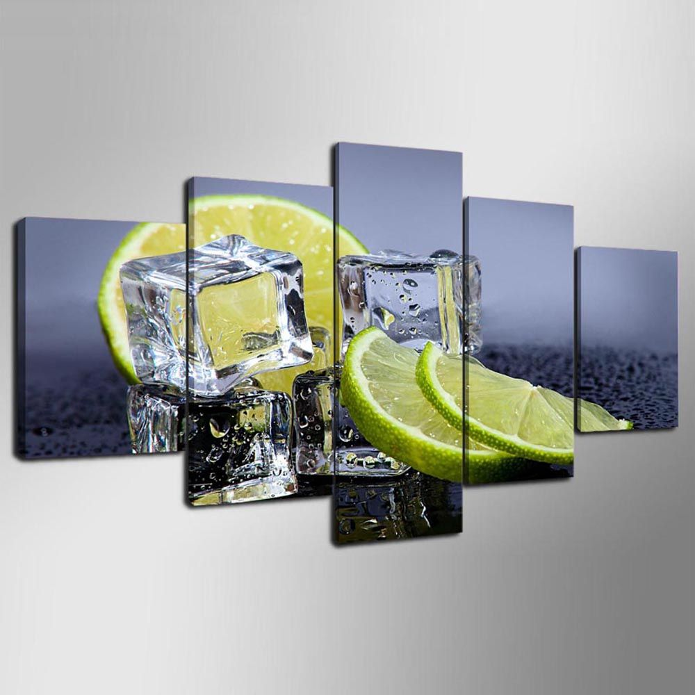 YSDAFEN Printed Ice Cubes with Lemon Fruit Canvas Print Room Decor