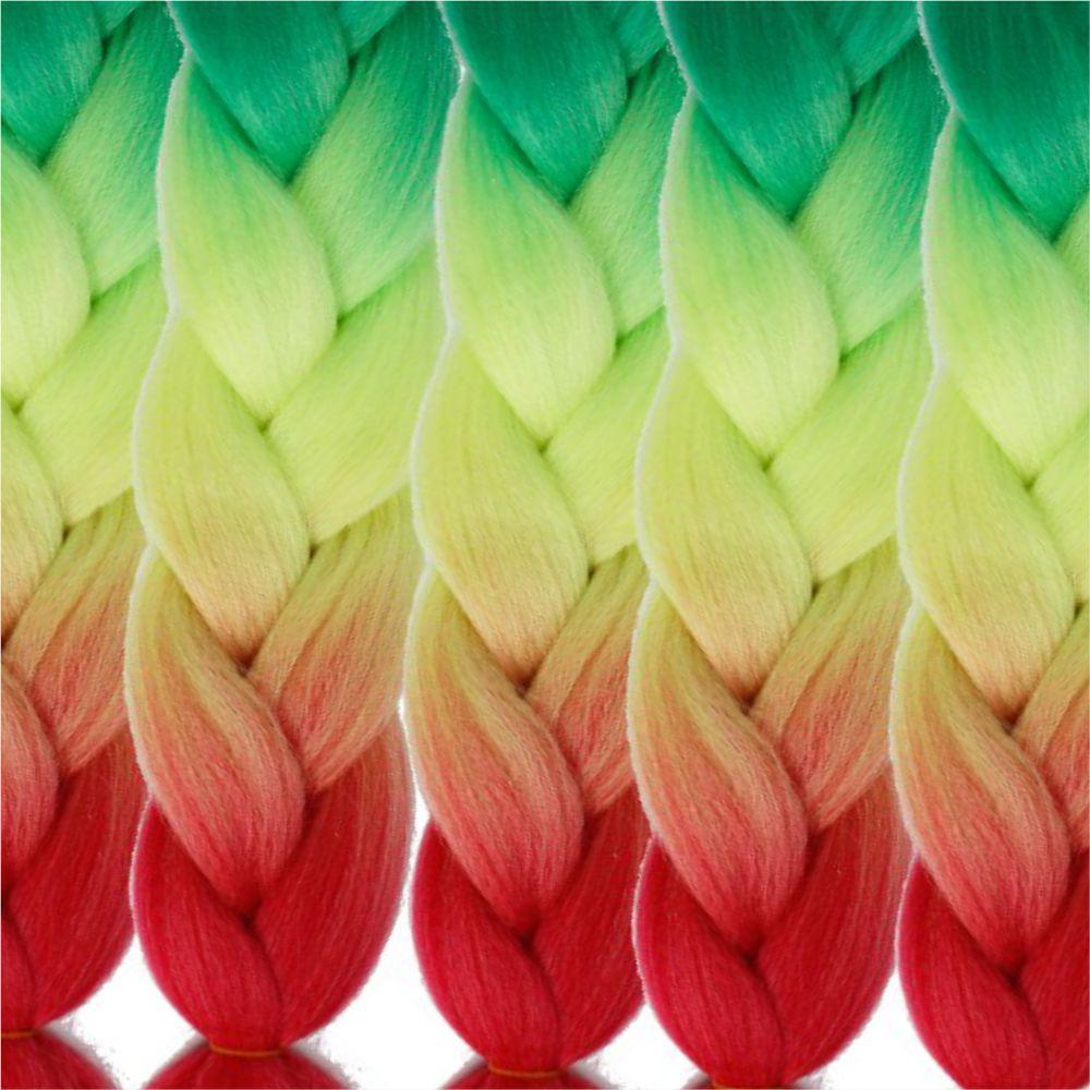 5pcs 3 Tone Ombre Jumbo Braiding Hair Extensions 24 inch Crochet Braids High Temperature Kanekalon Synthetic Fiber Twist