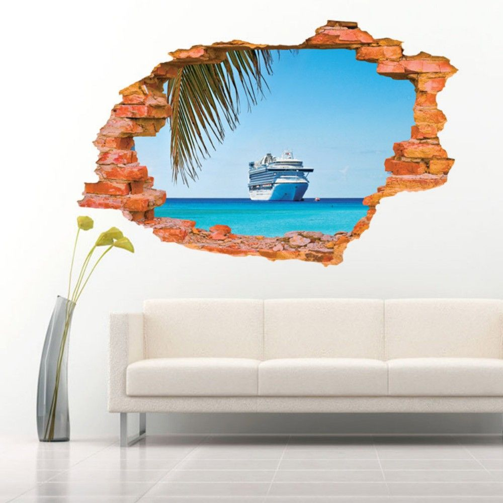 Sailing Boat on the Sea Wall Sticker Sea Water Scenery Wall Decals Home Decor