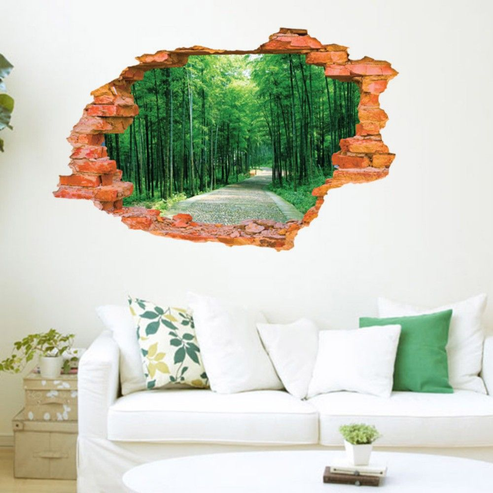 3D Bamboo Scenery Wall Sticker Removable Forest Tree Wall Decals
