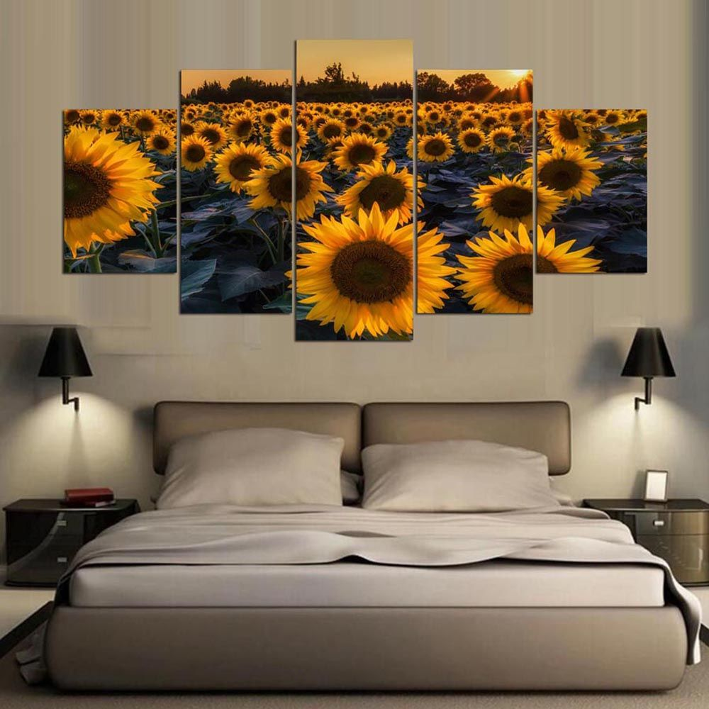 YSDAFEN 5 Panel HD Printed Sunflower Field In Evening Canvas Print Room Decor