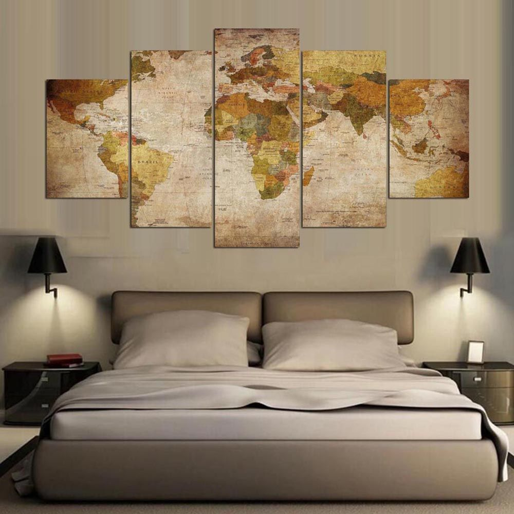 YSDAFEN 5 Panel Modern Hd World Map Art Print Canvas Art for Living Room Wall Picture