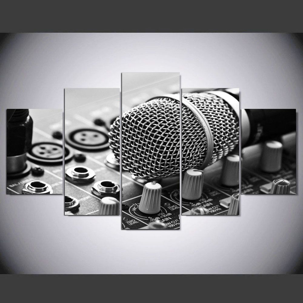 YSDAFEN HD Printed Music Microphone Canvas Print Room Decor