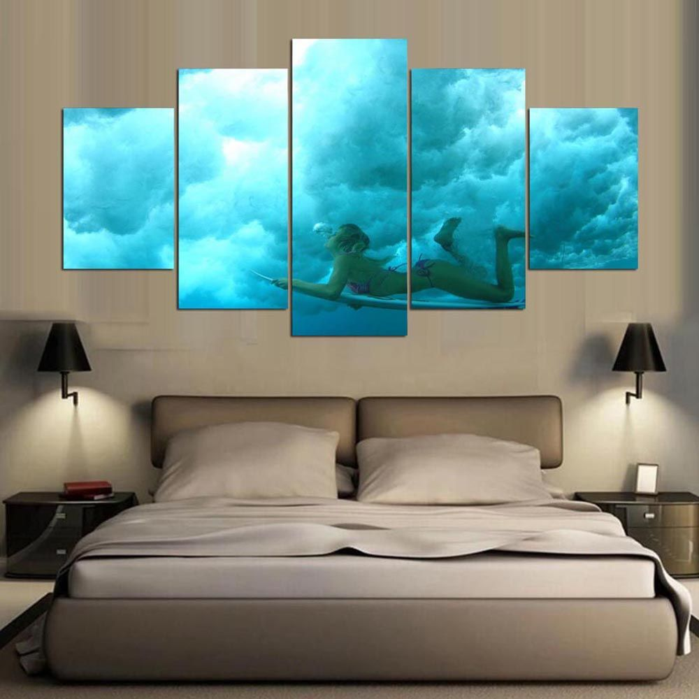 YSDAFEN 5 Panel HD Printed Skateboard Surfing Girl on Canvas Room Decoration