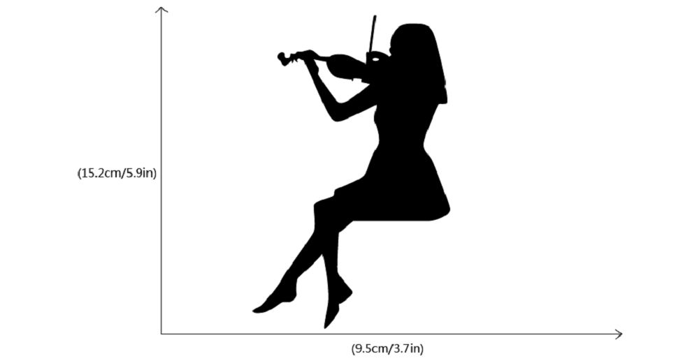 Violin Switch Sticker Classical Music Wall Art Woman Playing Violin Silhouette Wall Decal