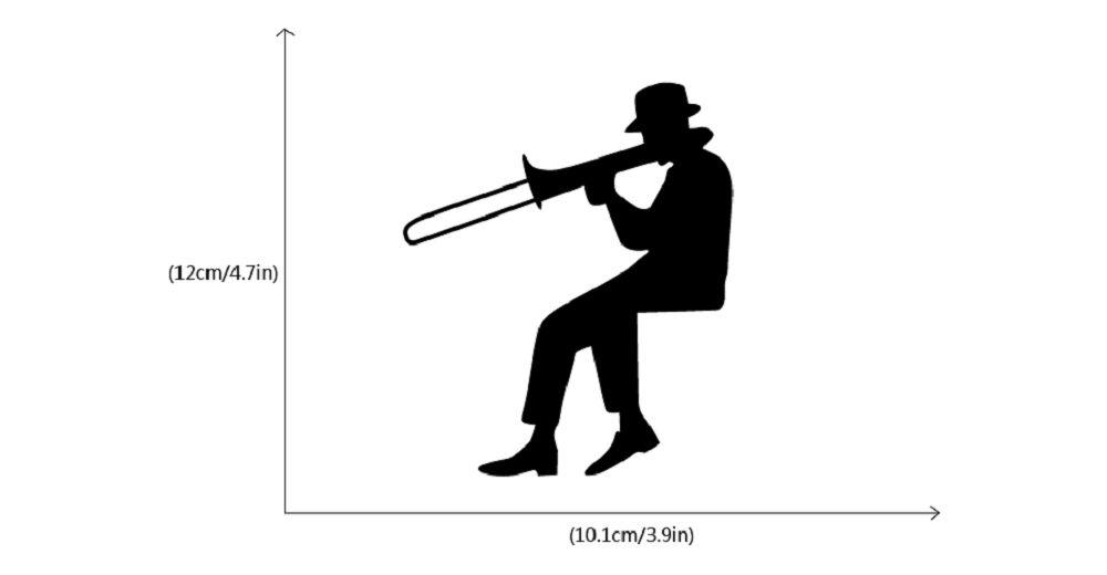 Man Playing Trombone Silhouette Light Switch Sticker Music Vinyl Wall Sticker