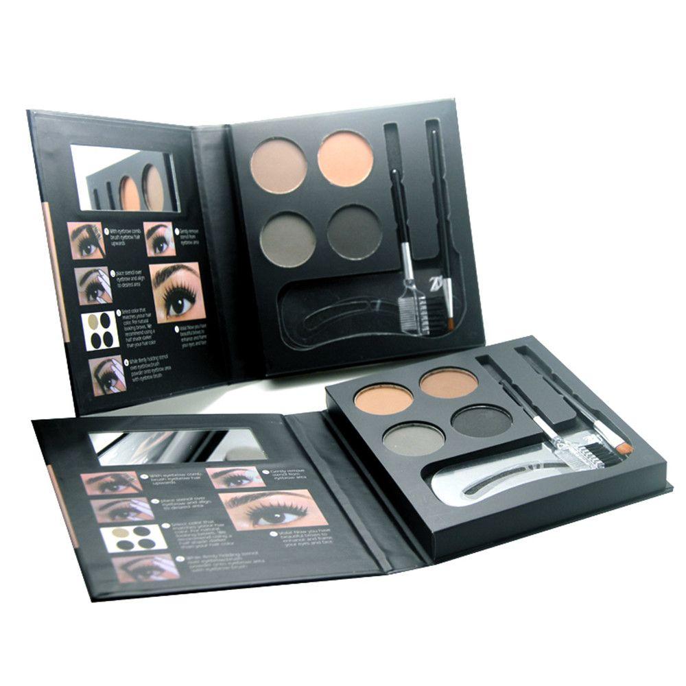 ZD F2100 4 Colors Eyebrow Powder + 2Pcs Makeup Brush + 3Pcs Eyebrow Stencils 1PC