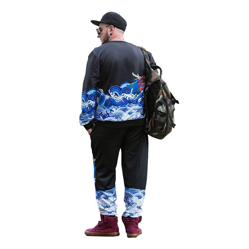 Long Teng Printing Large Size Men'S Long-Sleeved Sweatshirt Male Round Neck Collar Loose PCW70030C