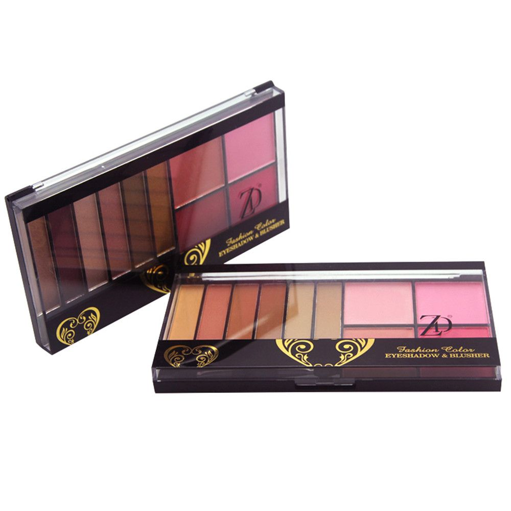ZD F2070 6 Colors Eyeshadow 4 Color Blusher Palette 1pc