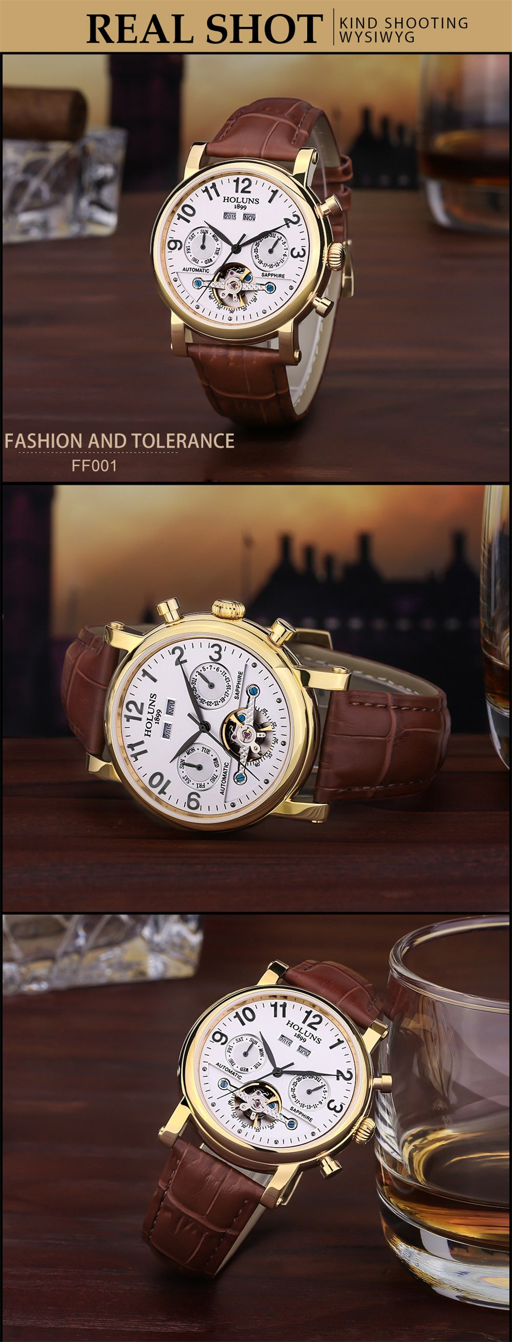 HOLUNS 1180 Business Casual Fashion Multi-Functional Belt Calendar Belt Men Automatic Mechanical Watch