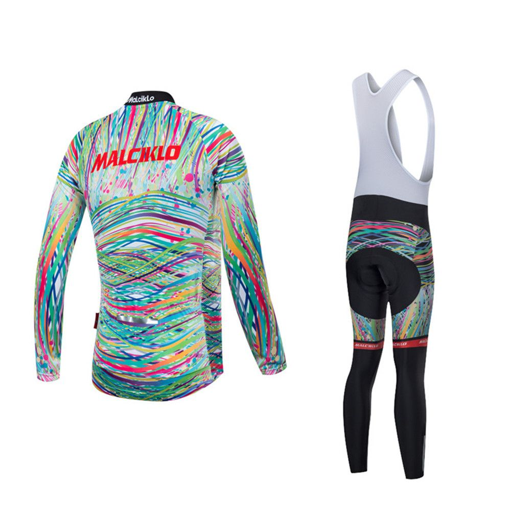 Malciklo 18 Malciklo Cycling Jersey Winter Warm with Bib Tights Women's Long Sleeves Bike Compression Suits Quick Dry